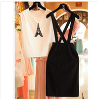 Wholesale 2 Piece Sets Big Girl Strap Skirt Sets Girl s Eiffel Tower Short T Shirt Strap Skirt Women Girl Dress Outfits S0618