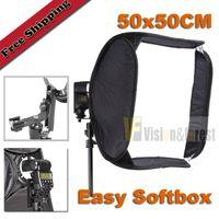 Wholesale 50x50cm quot Foldable Flash EASY SOFTBOX Portable SoftBox for Speedlite Flash Light