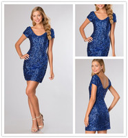 Reference Images Sequined Scoop Shining Sequin Homecoming Dresses Cheap Scoop Neck Low Back Short Sleeve Homecoming Dress Sheath Cocktail Dresses Sexy Party Dresses Short