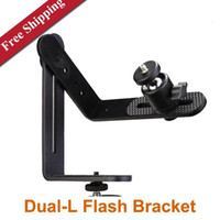 Metal   Multifunctional Flash holder Dual-L Flash Bracket with Ball Head for DSLR Canon Nikon
