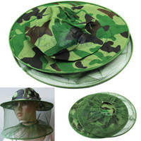Wholesale Hot Selling camouflage Net Mesh Head Face Mask Bug Insect Bee Mosquito Resistance Protector Fishing Cap Sun Hat