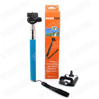 Wholesale 2 in Self timer Mobile phone holder Extendable Ski Pole Handle Telescopic Monopod With Tripod Mount For iPhone Samsung HTC Digital Camera
