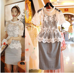 Wholesale Big Girl Lace Casual Dress Women s Lace Short Sleeve Dress Girl One Piece Slim Dress Lady s Clothing S0618