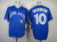 Wholesale Toronto quot Blue Jays quot Encarnacion Blue Cool Base Baseball Jerseys New Arrival Men Authentic Baseball Uniforms Cheap Baseball Shirts