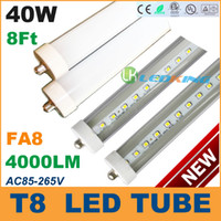 T8 40W SMD 3528 40W T8 LED Tube Light 8ft 2400mm 2.4m FA8 LED fluorescent tube lamp SMD2835 High brightness 4000LM AC85-265V CE RoHS FCC ETL SAA UL 100 lot