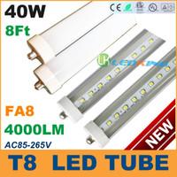 T8 40W SMD 3528 40W T8 LED Tube Light 8ft 2400mm 2.4m FA8 LED fluorescent tube lamp SMD2835 High brightness 4000LM AC85-265V CE RoHS FCC ETL SAA UL 100 lot
