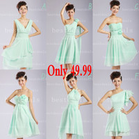 2014 chiffon Bridesmaid Dresses Top Selling Ruffle Knee Leng...