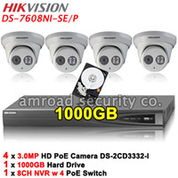 More than 4 TB 8 Channel 4 independent 10 / 100 Mbps PoE  HIKVISION DS-7608NI-SE P 8CH PoE NVR Network Video Recorder +1000GB HDD+4x 3.0MP HD PoE Outdoor Waterproof EXIR Dome IP Camera DS-2CD3332-I