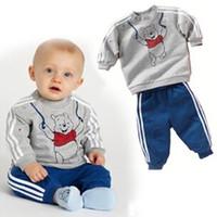 Wholesale Bear Factory direct fine boy clothes children suit T shirt pants Children of foreign trade exquisite Bear suit