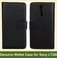 achat en gros de couvertures xperia lt26i-En gros cuir véritable Cool pliage portefeuille Flip Housse Etui pour Sony Xperia S LT26i livraison gratuite