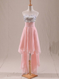 Wholesale Simple chiffon Sweet heart Sequins sleeveless hi lo empire lace up Homecoming Dress party dresses