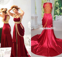 Reference Images Sweetheart Elastic Satin 2014 Real Picture Burgundy Arabic Crystal Evening Dresses Long prom Gown Turmpet Mermaid Sweetheart Pleated Sweep-Train Formal Pageant Dress