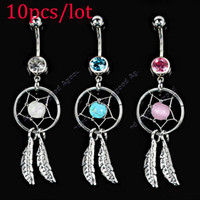 crystal crystal ring - 10pcs Crystal Gem Catcher Dangle Belly Navel Barbell Button Bar Ring