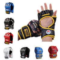 Fingerless Gloves mma gloves - New Grappling MMA Gloves PU Punching Bag Boxing Gloves Black White Red Blue W8861 Five Colors