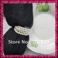 Bamboo ECO Friendly Napkin Rings Free Shipping Lowest price 100pcs lot 5MM Pearls Napkin Rings Wedding wholesale