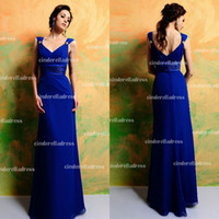 Wholesale 2014 Cheap In Stock Royal Blue V Neck Cap Sleeves Bridesmaid Dresses Chiffon Long Zip Long Evening Gowns Wedding Party Prom Dress CPS002