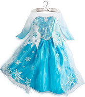 Wholesale in stock frozen elsa fancy dress frozen party dress elsa costume gradient color long sleeve frozen elsa snowflake dress with lace cloak