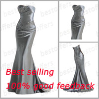 good evening - 100 good feedback silver Bridesmaid Dresses With strapless Mermaid sheath lace up back beads and sequins bodice prom evening gowns lfc035