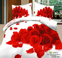 Twill Yes 40 3D rose printed bedsheets bed linen sets 100 Cotton doona duvet cover quilts red purple white 4pcs bedding set Full queen size