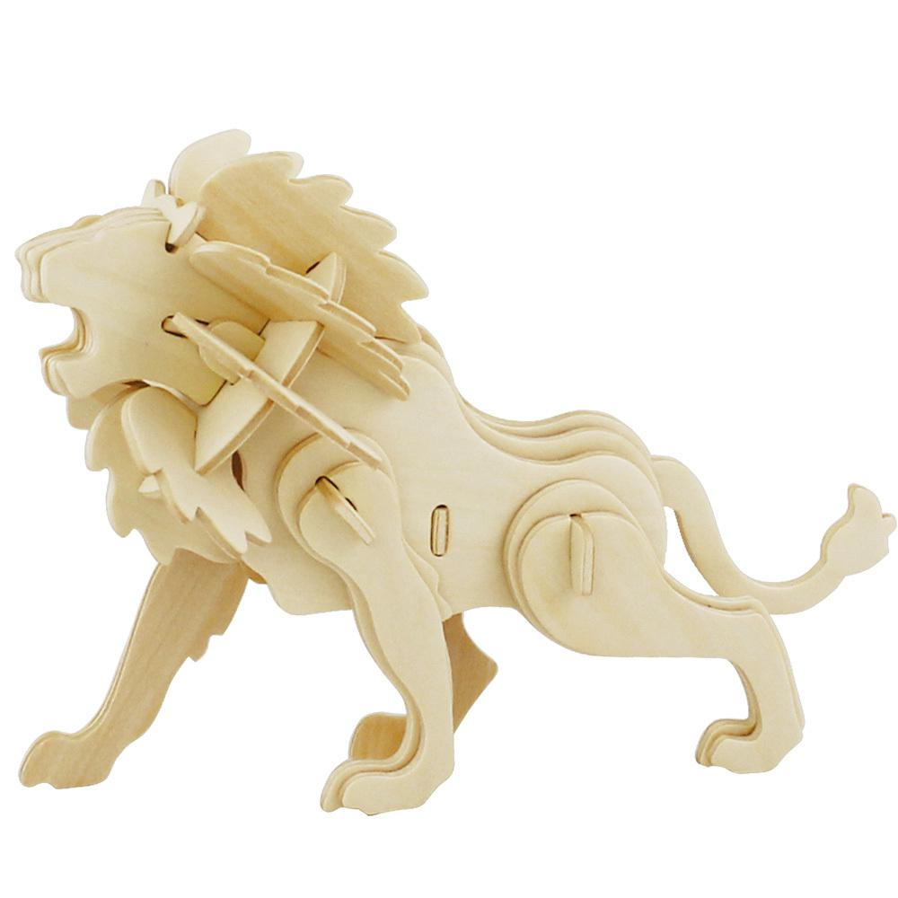 Kids wood craft kits - 2017 Unfinished Lion Wood Puzzle Toy For Kids Model Building