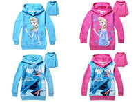 Girl Spring / Autumn Hooded New Designer Frozen Baby Girls 2-8Yrs Elsa Anna Princess Hoodie Long Sleeve Terry Hooded Jumper Cartoon Hoodies Outerwear Kids Clothing