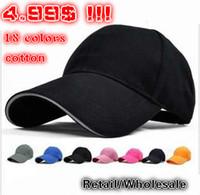 Ball Cap Red Cotton Womens Men Cotton Caps Baseball Hats,Sport Plain Tops Snapback Hat,Long Brim Sun-shade Unisex Wholesale Retail 18 Colors HHM-1