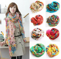 Wholesale Hot Women s Floral Slik Scarf Bohemia Style Pashmina Flowers Print Foulard Scarves Lady s Neck Dress Shawl Wraps Sarf