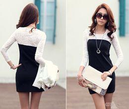 Wholesale 2015 spring Women dress Ladies Sexy Cotton Casual Lace Dress Long Sleeve Mini Black Dress clothing