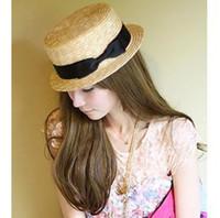 Venta caliente verano barato 2014 sombrero para el sol para mujeres paja llanura superior Topper playa Cap gran dama de la moda de disquete plegable DG0015