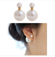 Wholesale Retail hot Sales Jewelry new fashion earring Sided size pearl earrings air pocket for women gift ER