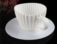 Wholesale 72sets Silicone Muffin Cups With Handle Coasters Cup Saucer Set Cake Cupcake Box
