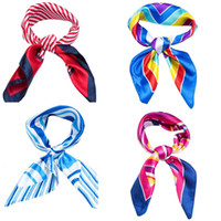 Wholesale New Fashion Multi Color Women s Small Square Scarf imitation silk printed scarves with colors