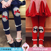 Wholesale Japanese and Korean manufacturers children s clothing girls bow patch leggings two colors optional new cotton leggings
