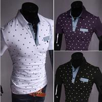Men Polo Bussiness Casual Tee New Korean Plus size M-XXL polo shirts men black&white&purple cotton print short sleeve casual breathable fashion T- shirt