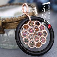 Cheap Hong Kong Jewelry pound diamond ring 925 silver inlaid black onyx natural color micro tourmaline pendant