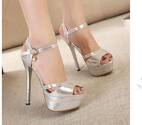 Wholesale new style lady noble elegant fashion sandals Gold silver The banquet high waterproof with fish mouth high heeled sandals