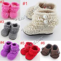 crochet yarn - Handmade Crochet Baby Snow Booties Loops Design First Walker Shoes Cotton Yarn Mix Design Custom pairs XZ010