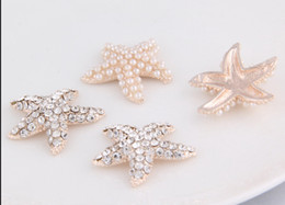 Wholesale mm Starfish Flatback Rhinestone Button For Hair Flower Wedding Invitation BXF03