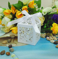 Wholesale White Garden Vine Laser cut Candy box Wedding favor box with RribbonGift Favour box baby shower decoration