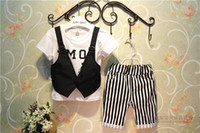 Boy Summer Short Summer Children Fashion Cool Clothing Set Waistcoat T Shirt + Stripe Shorts 2pcs Baby Boy Casual Suit 2-7Age Kids Set 100-140 GX484