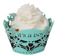 baby blue party supplies - blue its a boy laser cut lace cupcake wrapper muffin paper cup cake liner holder for baby shower birthday party supply