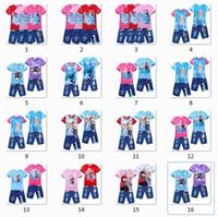 Wholesale frozen elsa t shirt tee children jeans children s clothing set THE LOWEST PRICE ON SALE