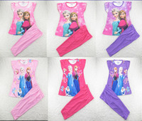 Girl Summer  New 2014 frozen baby girls clothing sets children kids summer pajamas child Anna Elsa princess clothes for 2-7T