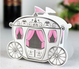 Wholesale Pink Cinderella Enchanted Carriage Marriage Candy Gift Boxes Wedding Favors Gift Favour box baby shower decoration