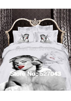 Knitted Cotton Twill New 2014 Marilyn Monroe Luxury 3D 4pcs Bedding Set Bed linen Duvet or Quilt Cover Bedclothes Full Queen King Size ,Free Shipping