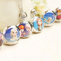 Wholesale 1406z necklace pendants jewelry women fashion necklaces Pocket Watches frozen anna elsa watch