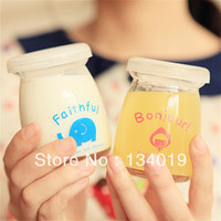 Wholesale Glass milk bottle with Gai Musi cup jelly cup pudding mold yogurt bottles