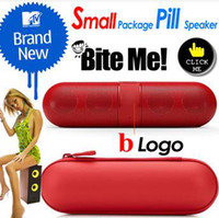 Wholesale reeshipping Small retail package pill bluetooth speaker pill in pill shape with bluetooth wireless nfc big sound box