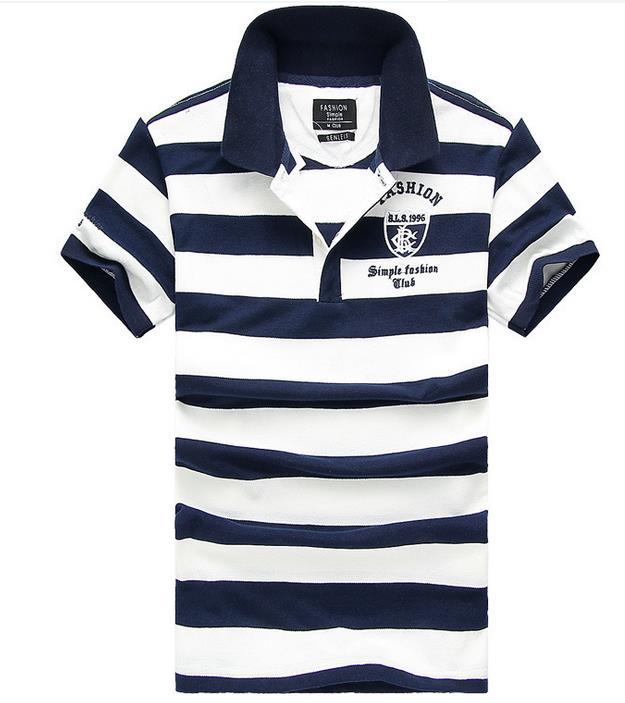 Best new men t shirt fashion stripe lapel embroidery for Best polo t shirts for men