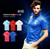Men Cotton Polo New Hot Sell Men's lapel short-sleeved T-shirt POLO T shirts Embroidery fashion pure Top men's clothing Casual Shirts 5 color 4 Size